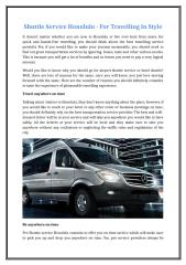 Shuttle Service Honolulu - For Travelling In Style.doc